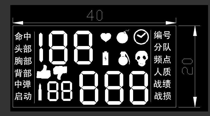 真人CS战绩LCD显示屏